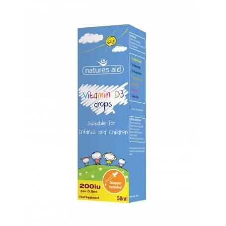 Natures Aid Vitamina D3 Natures Aid picaturi pentru bebelusi si copii, 50 ml