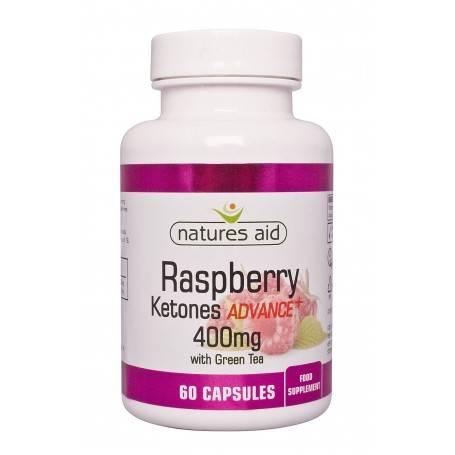 Natures Aid Raspberry Ketones Advance + 400 mg cu ceai verde, 60 capsule vegetale
