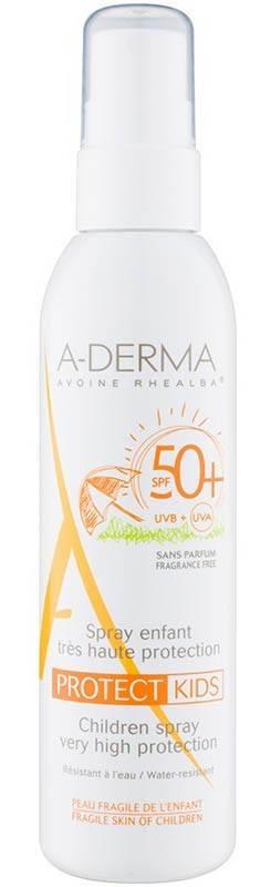 spray cu protectie solara a-derma protect spf 50 + pentru copii 200 ml