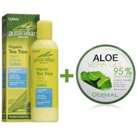 LOTIUNE DE MAINI SI CORP 100% ORGANICA CU TEA TREE + Aloe Vera Gel 95%