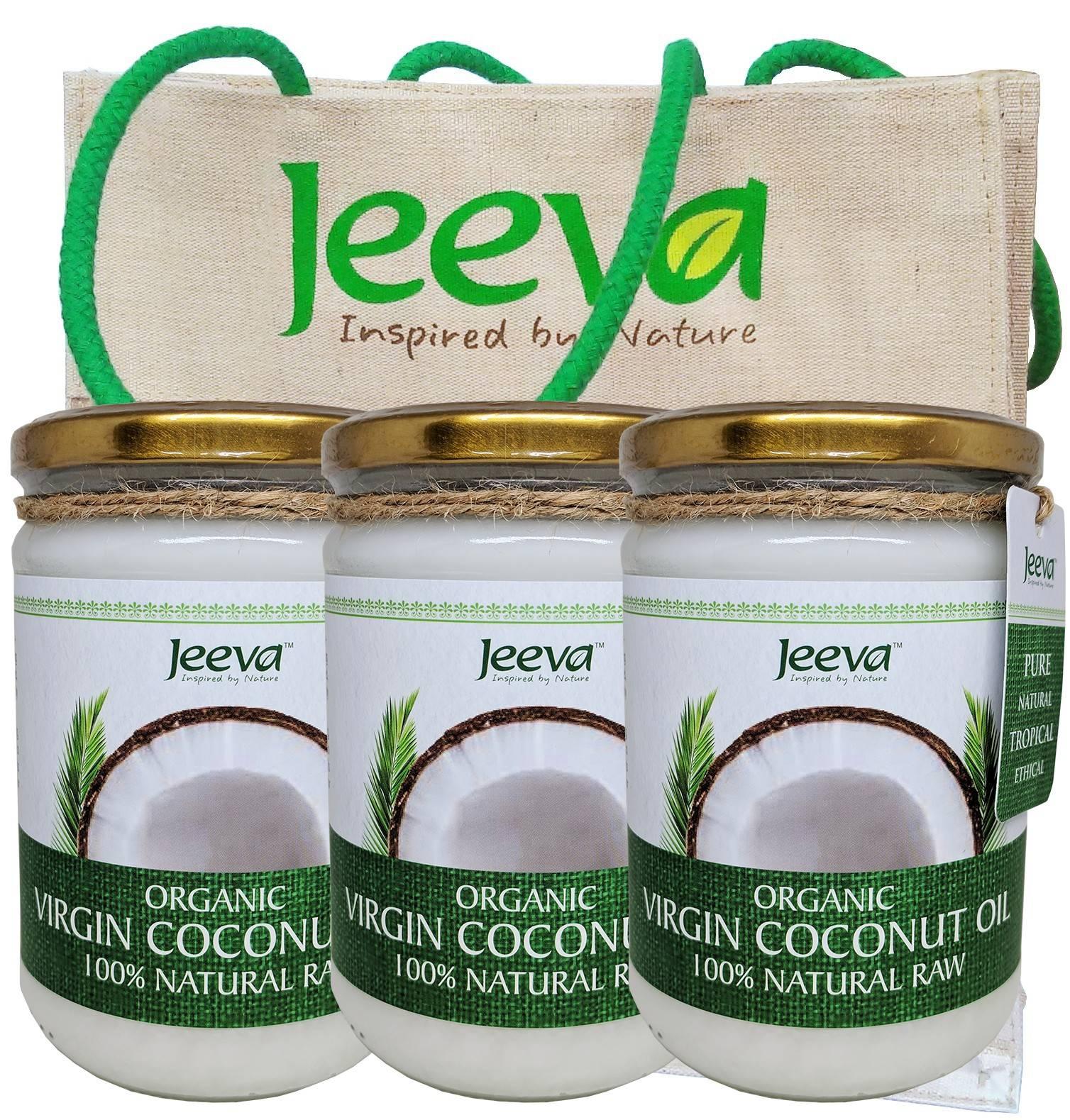 3x ulei de cocos 500ml jeeva + geanta de plaja cadou - certificat kosher