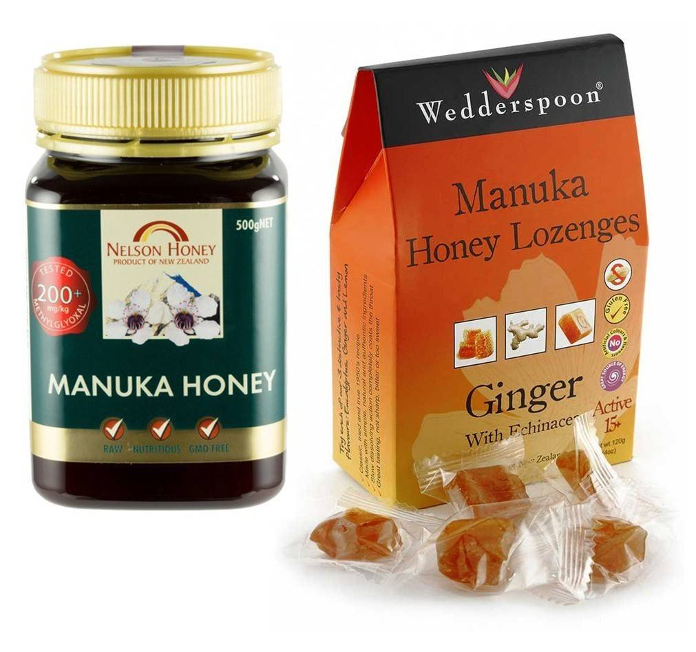 miere manuka raw mgo 200+, 500g nelson + bomboane din miere de manuka cu echinacea si ghimbir 120g