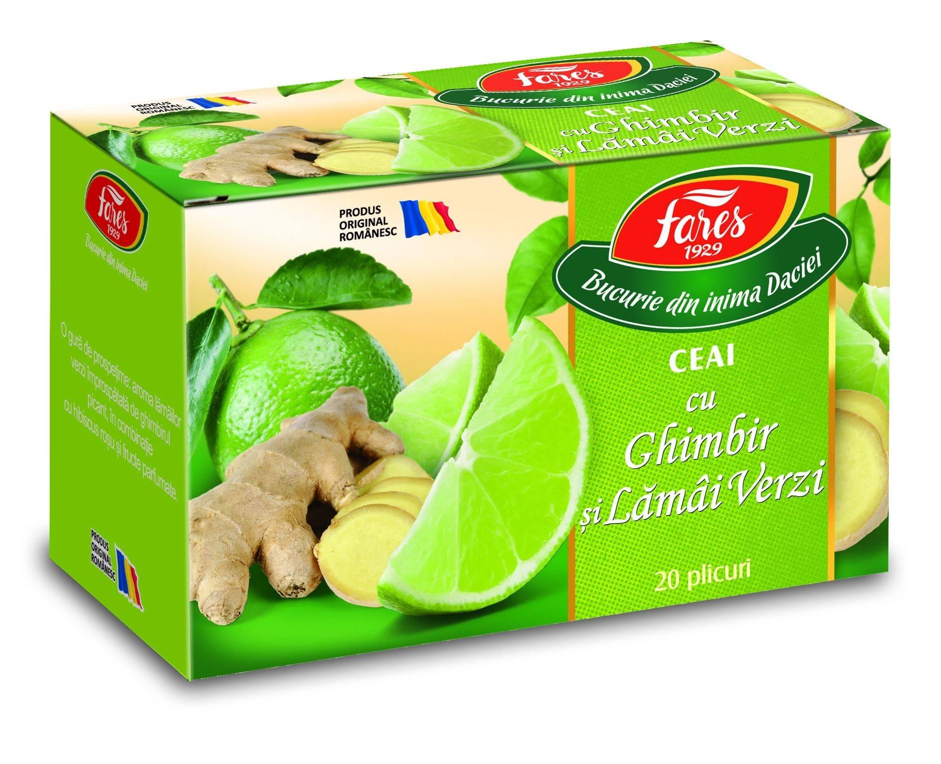 ceai cu ghimbir si lamai verzi, la plic