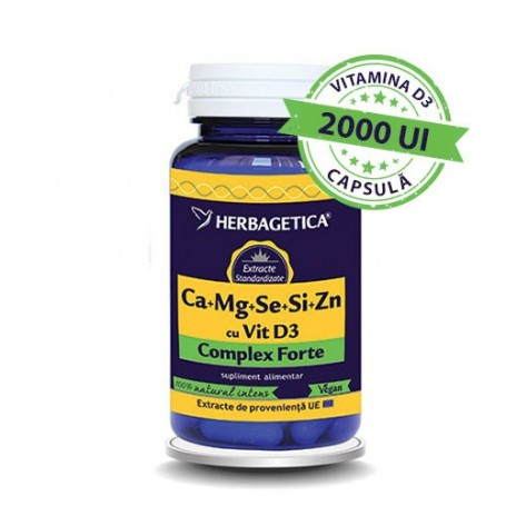 Ca+Mg+Se+Si+Zn cu Vit D3 Complex Forte 60cps